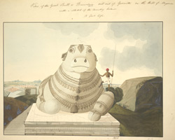 Statue of Nandi, Mysore, 1806. Signed 'W.R.'